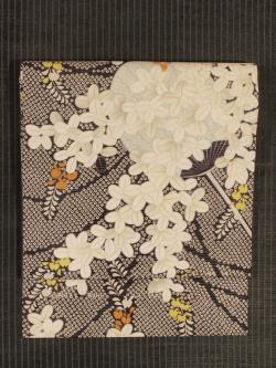 萩に団扇文様 型染め 絽 名古屋帯