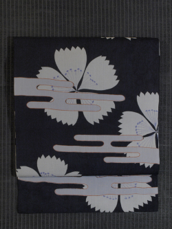 エ霞に撫子文様 型染め 紗織り 名古屋帯