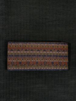 縞に幾何学文と唐花文様 型染め 半巾帯