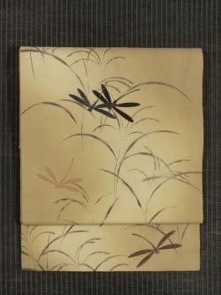 蜻蛉文様 型染めに手刺繍 絽 名古屋帯