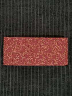 赤紅(あかべに)色地 唐花文様 刺繍 木綿 半巾帯