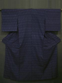 縞に幾何学文様 絹ちぢみ 単衣