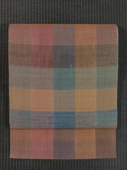 格子縞文様 紬織り 腹合わせ名古屋帯