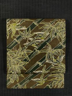 竹に雀文様 和更紗 名古屋帯