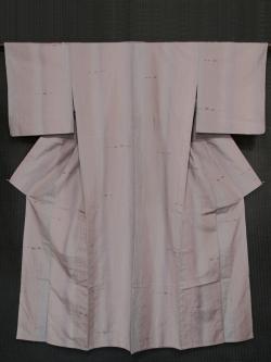 縦縞に琉球絣文様 紬 単衣