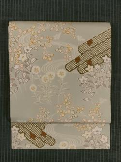 流水に筏と秋草文様 型染め 名古屋帯