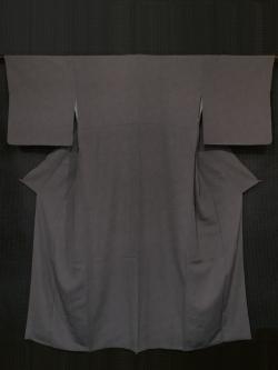 伝統工芸士 服部光擴(みつひろ)作 似せ紫(にせむらさき)色 縦縞の織りに鮫小紋 江戸小紋 袷