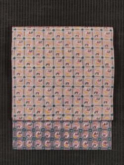 格子に林檎文様 手描き染めに型染め 名古屋帯