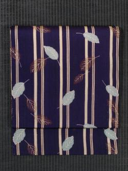 縦縞に木の葉文様 型染め 名古屋帯