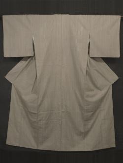 白橡(しろつるばみ)色地 縞文様 結城紬 袷 (証紙付)