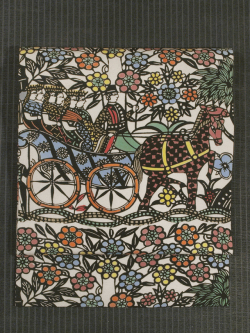 馬車と人物文様 型染め 名古屋帯