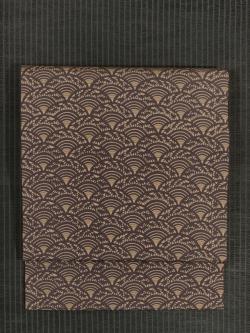 青海波に笹文様 型染め 名古屋帯