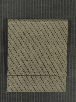 網目に猿縞文様 型染め 名古屋帯