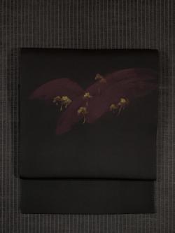 遠山に松林の絵図 手描き染め 塩瀬 名古屋帯