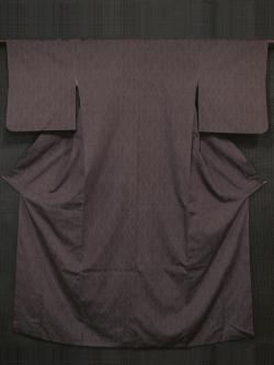 紫鳶(むらさきとび)色地 網目文様 結城紬 袷