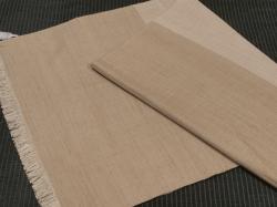 中野みどり作 草木染め手織り紬 綾織ピンクベージュ&ダークベージュ ショール