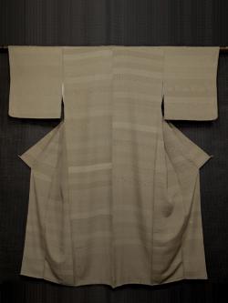 伝統工芸士 服部光擴(みつひろ)作 枯色(かれいろ) 段縞に四百柄 江戸小紋  袷