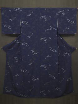 草花に蝶鳥文様 琉球藍型 小紋 袷 (証紙付き)
