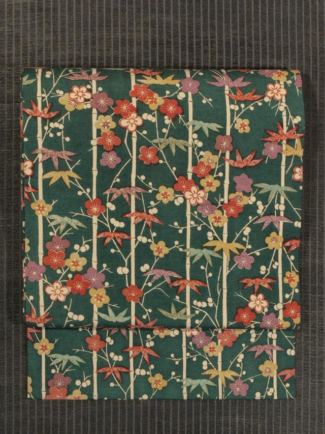 笹竹と梅文様 型絵染め 紬 名古屋帯