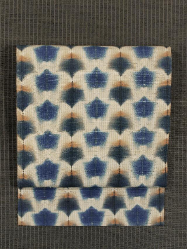 幾何学文様 藍絞り染め 手織り紬 名古屋帯