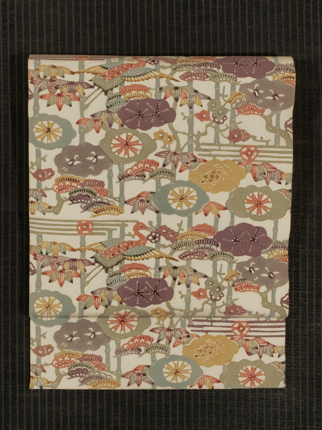 松竹梅に鶴と亀文様 型染め 名古屋帯