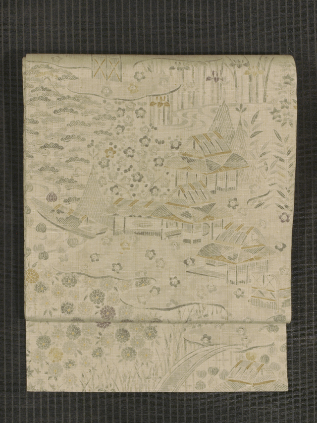水辺に四季の草花文様 型染め 真綿紬 名古屋帯