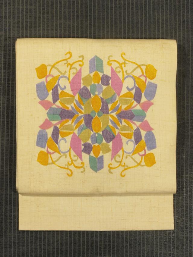 幾何学文様 型染め 真綿紬 名古屋帯