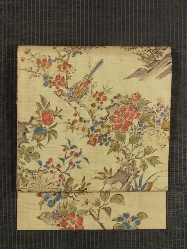 草花に鳥文様 手描き染め 紬 名古屋帯