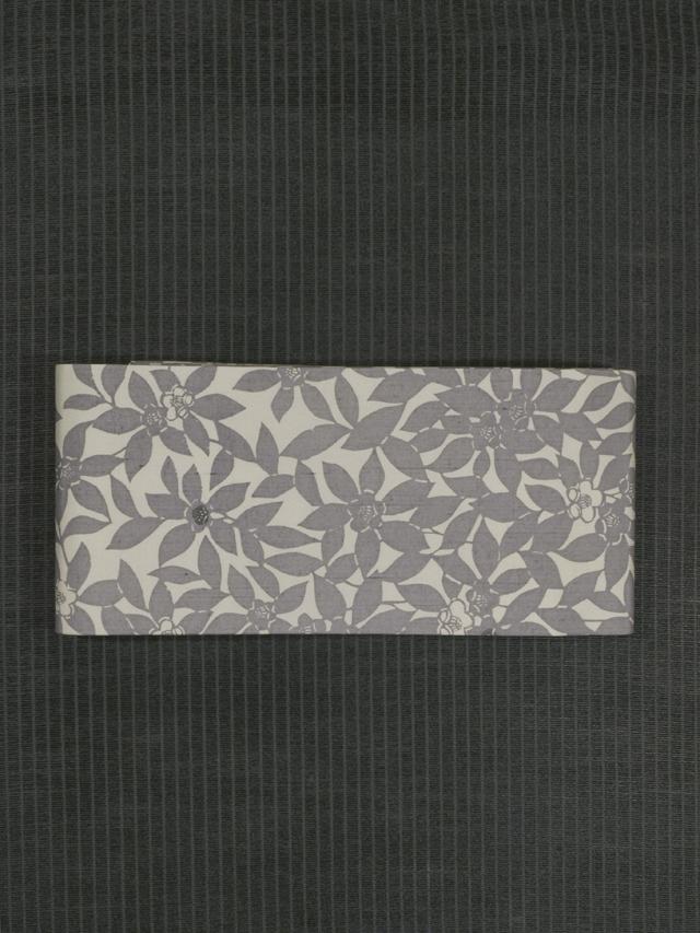 草花文様 型染め 半巾帯