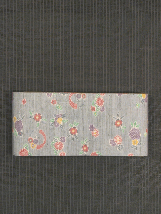 花文様 絣織り 紬 半巾帯