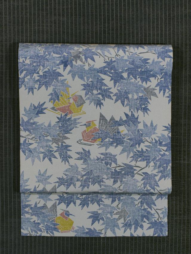 水辺に楓と鳥文様 木版染め 名古屋帯