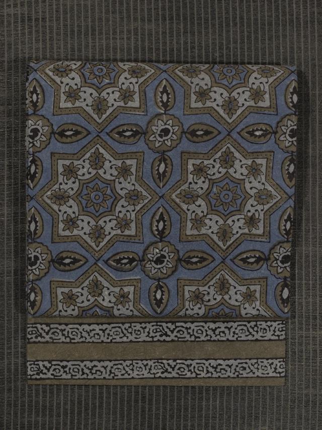 幾何学花文様 印度更紗 名古屋帯