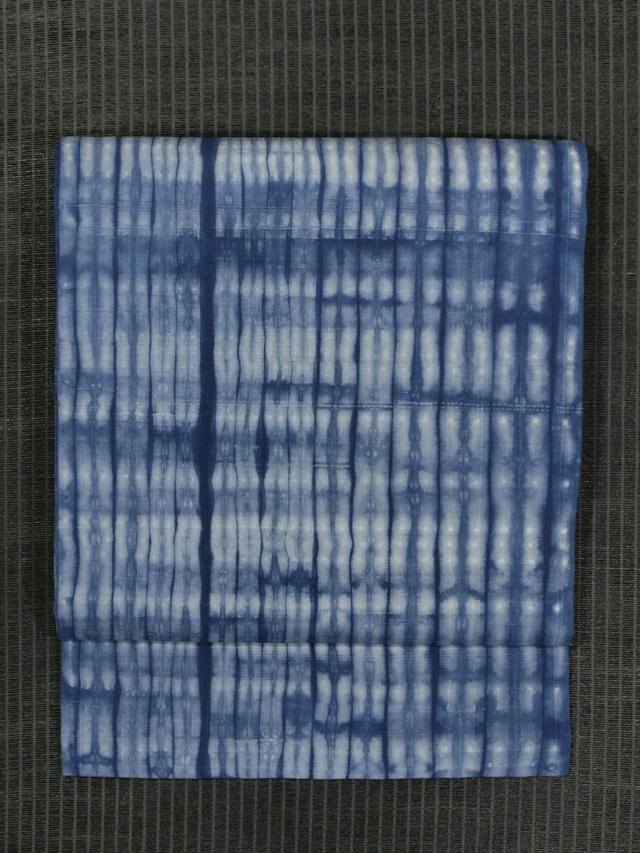 縞文様 絞り染め 生紬 名古屋帯