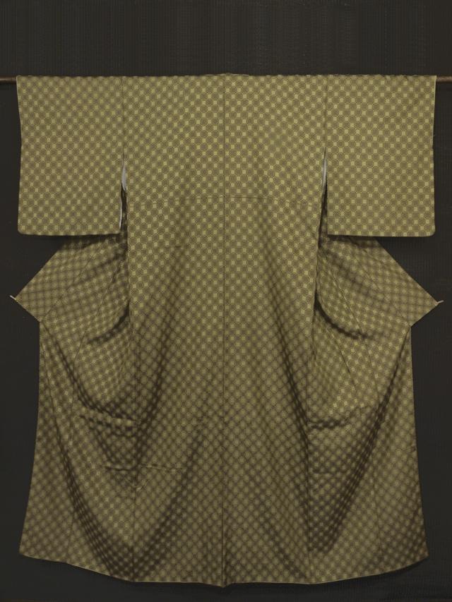 格子縞文様 変わり織 紬 袷