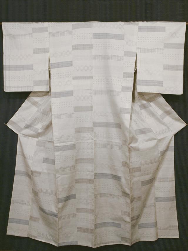段縞に幾何学絣文様 十日町紬 単衣