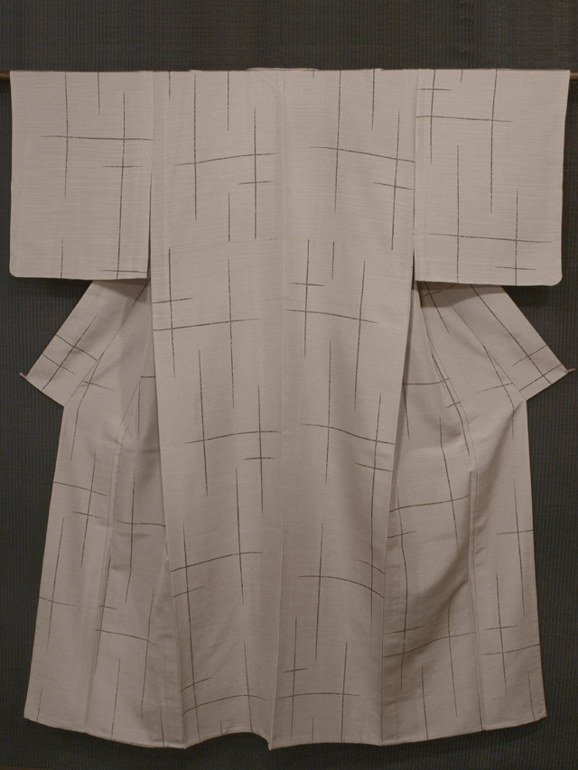 破れ格子縞文様 型染め 紬 単衣