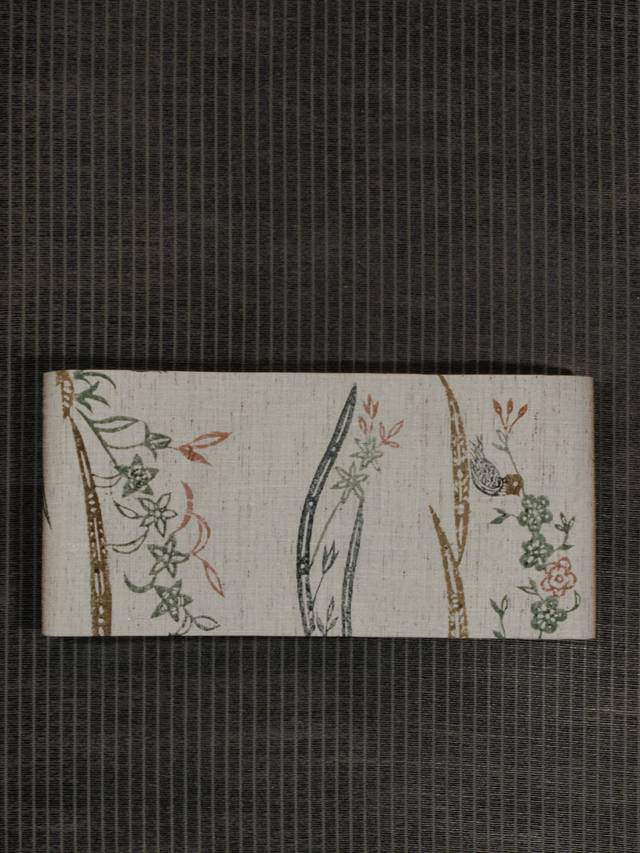 草花に鳥文様 型染め 紬 半巾帯