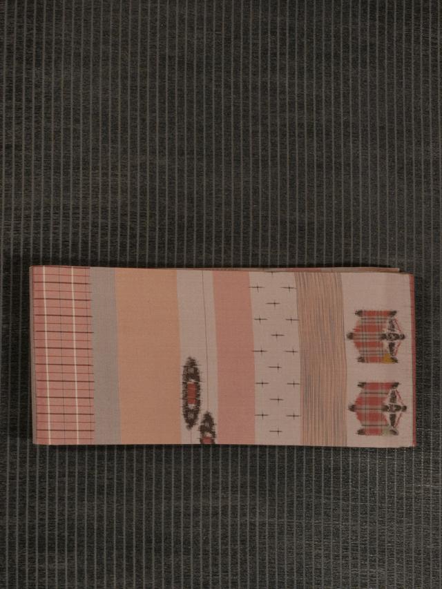 縞に糸巻き文様 絣織り 紬 半巾帯