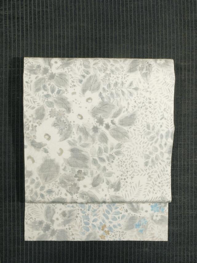 草花文様 型染め 紬 名古屋帯