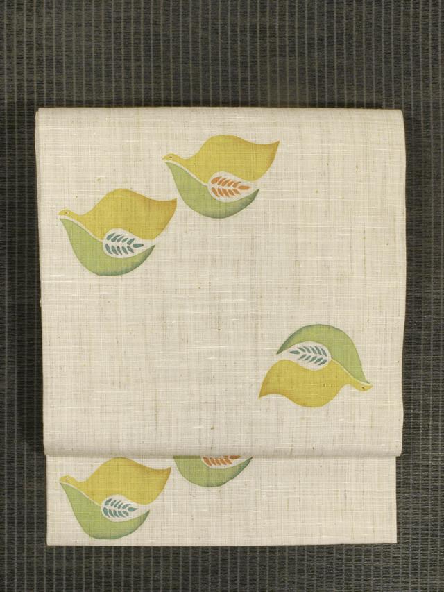 花喰い鳥文様 型染め 紬 名古屋帯