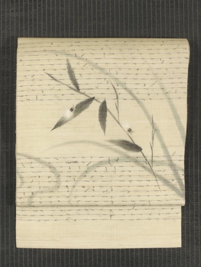 縞文様の網糸織りに蛍文様の手描き染め 麻 名古屋帯