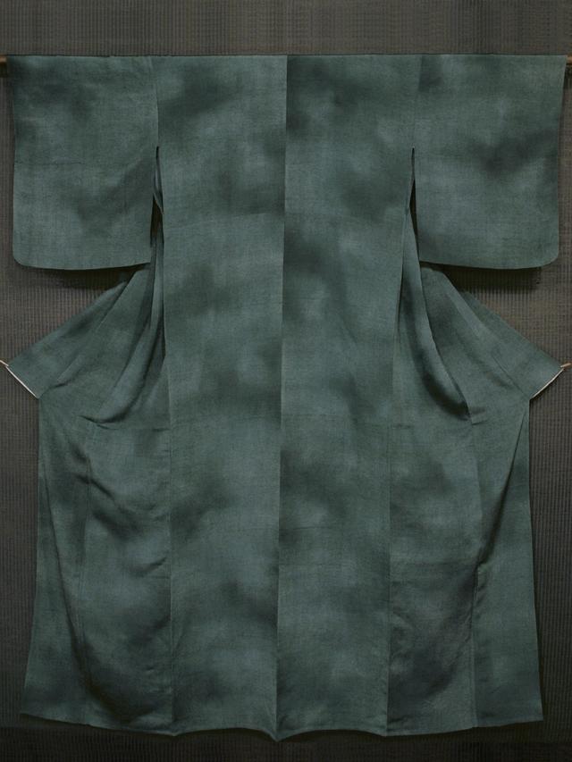 深緑色 ぼかし染めに微塵格子文様 染め小紋 単衣