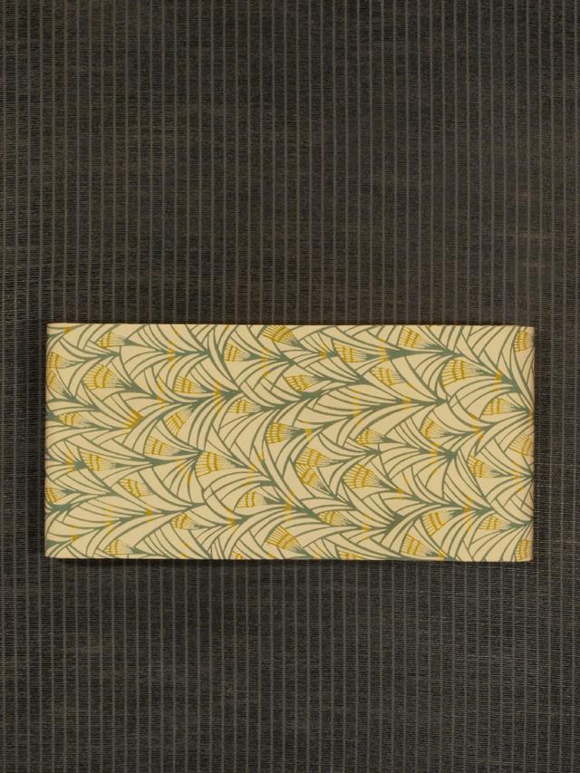 麦文様 型染め 半巾帯