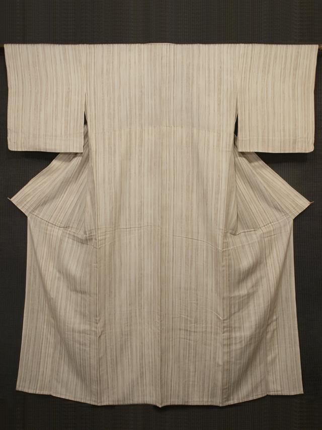 縦縞文様 紋意匠縮緬 単衣