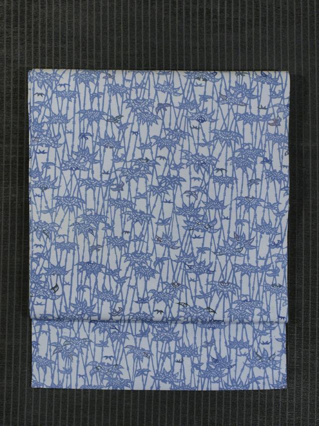竹薮に雀文様 型染め 絽 名古屋帯