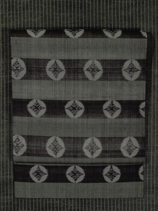 縞に七宝文様 紗織り 名古屋帯