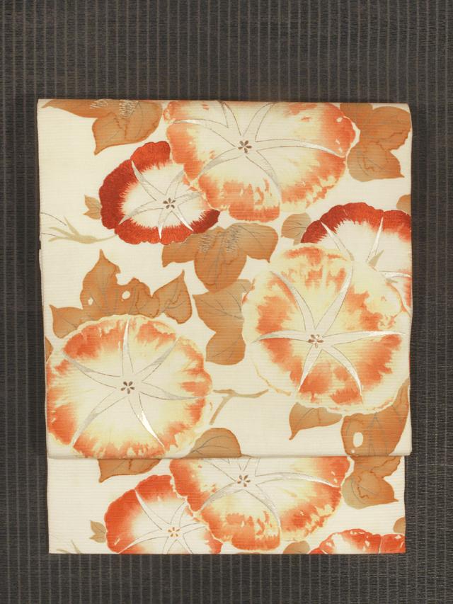 朝顔文様 型染めに手刺繍 絽 名古屋帯