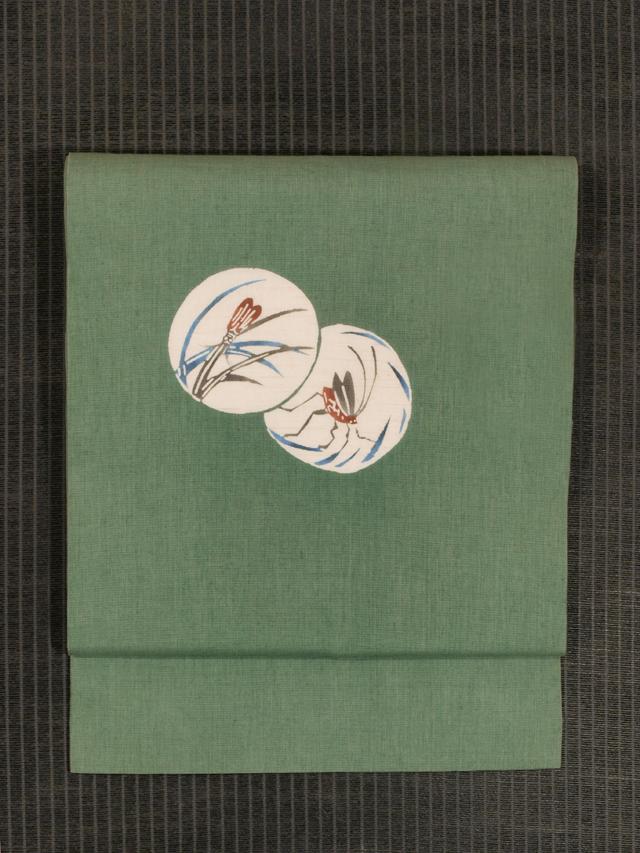 蛍と鈴虫文様 型染め 麻 名古屋帯