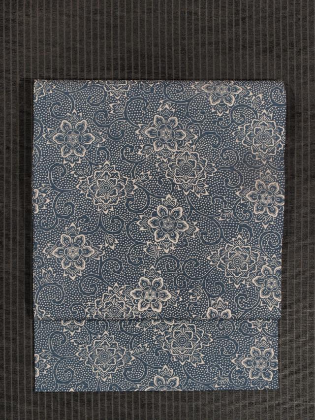 牡丹唐草文様 型染め 絽 名古屋帯