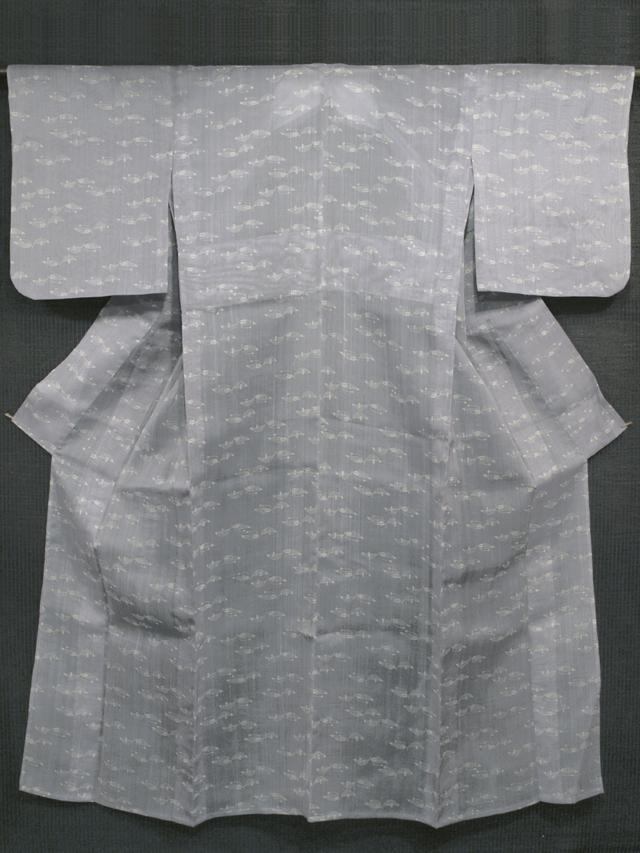 木の葉文様 型染め 紗紬 単衣